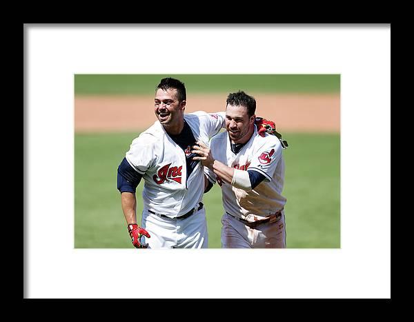 American League Baseball Framed Print featuring the photograph Nick Swisher And Jason Kipnis by Joe Robbins