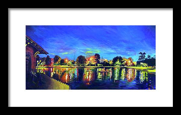 Night Framed Print featuring the painting Night Lights by Bonnie Lambert
