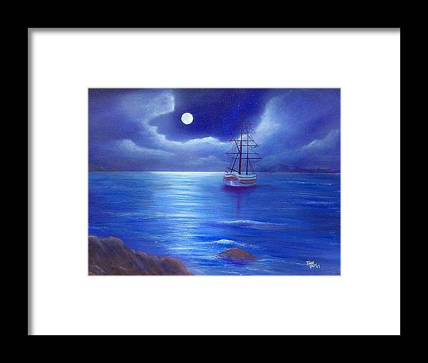 Seascape Framed Print featuring the painting Night Seascape by Tony Rodriguez