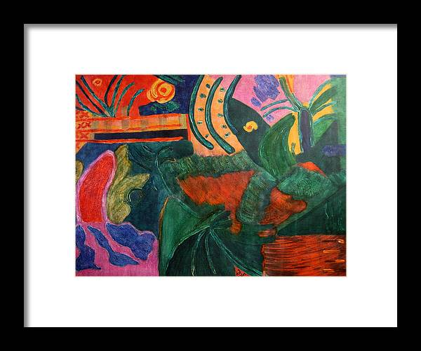 Abstract/landscape; Ink On Stretched Canvas Framed Print featuring the painting No.321. by Vijayan Kannampilly