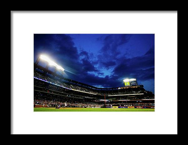 People Framed Print featuring the photograph Noah Syndergaard and Brandon Belt by Al Bello