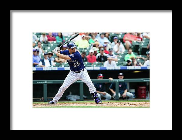 Motion Framed Print featuring the photograph Nolan Arenado by Peter Lockley