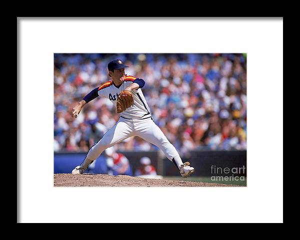 1980-1989 Framed Print featuring the photograph Nolan Ryan by Ron Vesely
