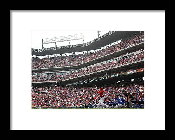 Game Two Framed Print featuring the photograph Nomar Mazara by Ronald Martinez