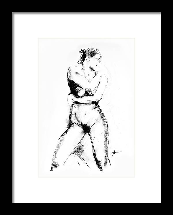 Nude Framed Print featuring the drawing Nude 013 by Ani Gallery
