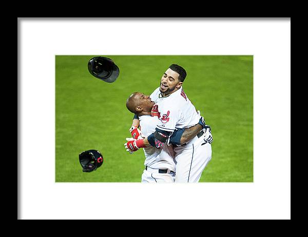 American League Baseball Framed Print featuring the photograph Nyjer Morgan and Mike Aviles by Jason Miller