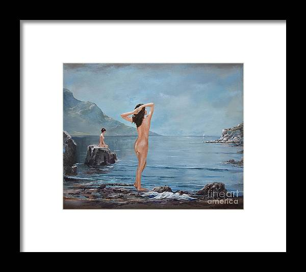 Female Figures Framed Print featuring the painting Nymphs by Sinisa Saratlic