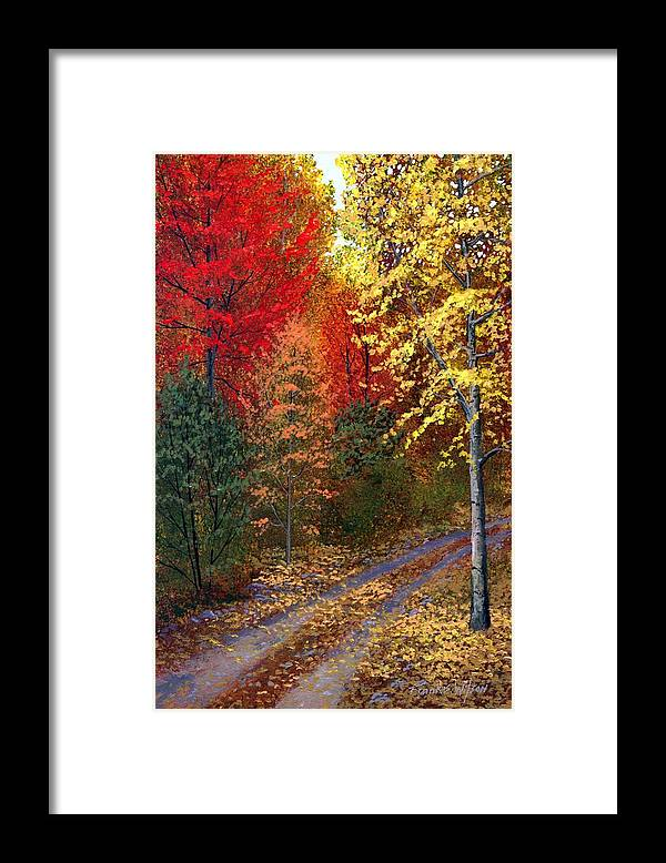 Landscape Framed Print featuring the painting October Road by Frank Wilson