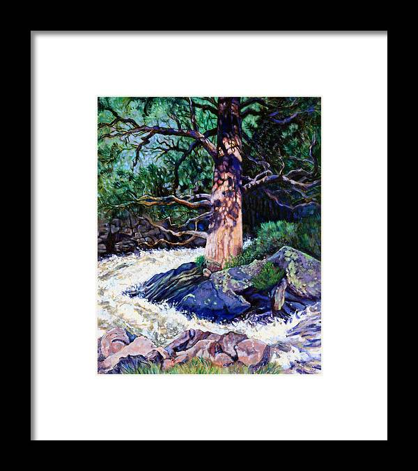 Old Pine Framed Print featuring the painting Old Pine In Rushing Stream by John Lautermilch