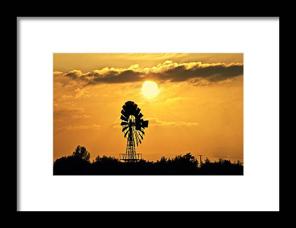 Sky Framed Print featuring the photograph Old Windmill At Sunset by Bernd Schunack