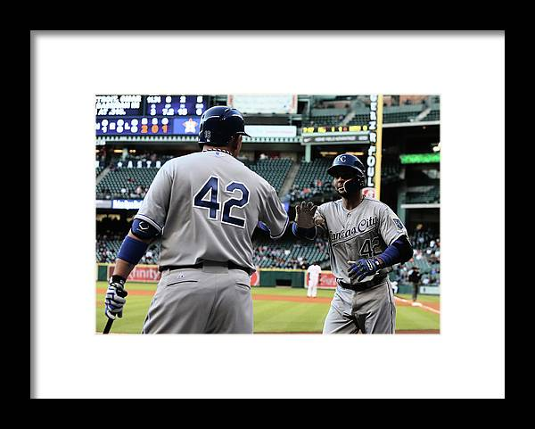 American League Baseball Framed Print featuring the photograph Omar Infante and Billy Butler by Scott Halleran