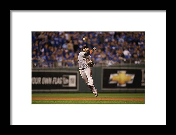 Playoffs Framed Print featuring the photograph Omar Infante and Brandon Crawford by Brad Mangin