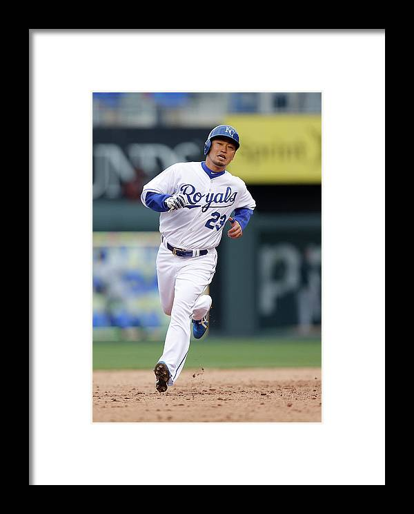 American League Baseball Framed Print featuring the photograph Omar Infante by Ed Zurga