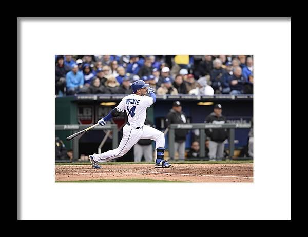 American League Baseball Framed Print featuring the photograph Omar Infante by John Williamson