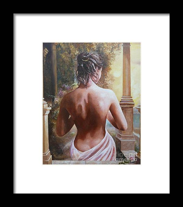 Female Figure Framed Print featuring the painting On The Doorway by Sinisa Saratlic