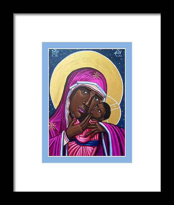 Framed Print featuring the painting Our Lady Mother of the Streets by Kelly Latimore