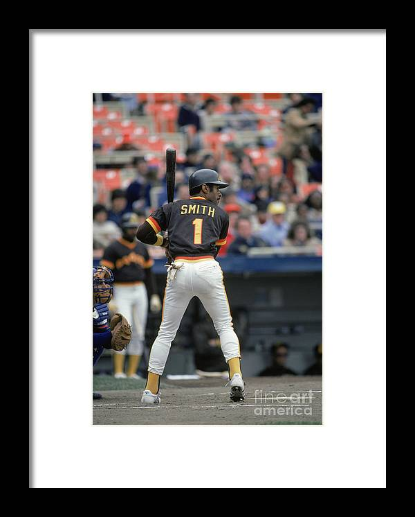 1980-1989 Framed Print featuring the photograph Ozzie Smith by Mlb Photos