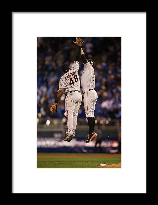 Playoffs Framed Print featuring the photograph Pablo Sandoval and Brandon Belt by Brad Mangin
