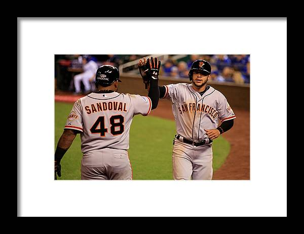People Framed Print featuring the photograph Pablo Sandoval and Gregor Blanco by Jamie Squire