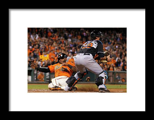 San Francisco Framed Print featuring the photograph Pablo Sandoval And Jarrod Saltalamacchia by Jason O. Watson