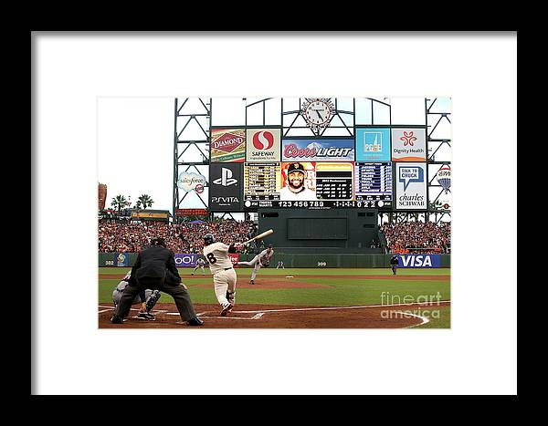 Viewpoint Framed Print featuring the photograph Pablo Sandoval And Justin Verlander by Ezra Shaw