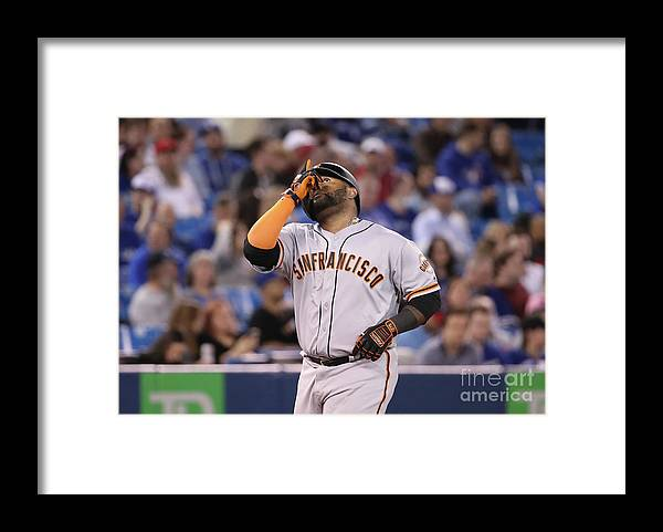 Three Quarter Length Framed Print featuring the photograph Pablo Sandoval by Tom Szczerbowski