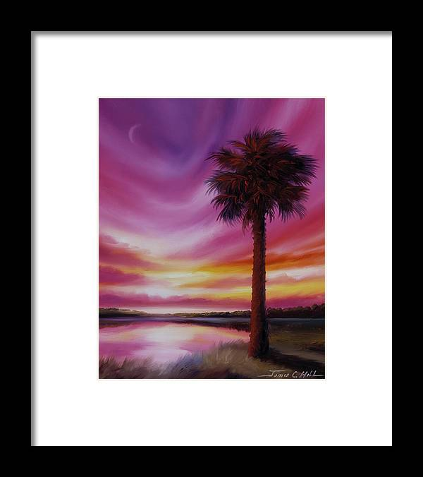 Sunrise Framed Print featuring the painting Palmetto Moon by James Christopher Hill