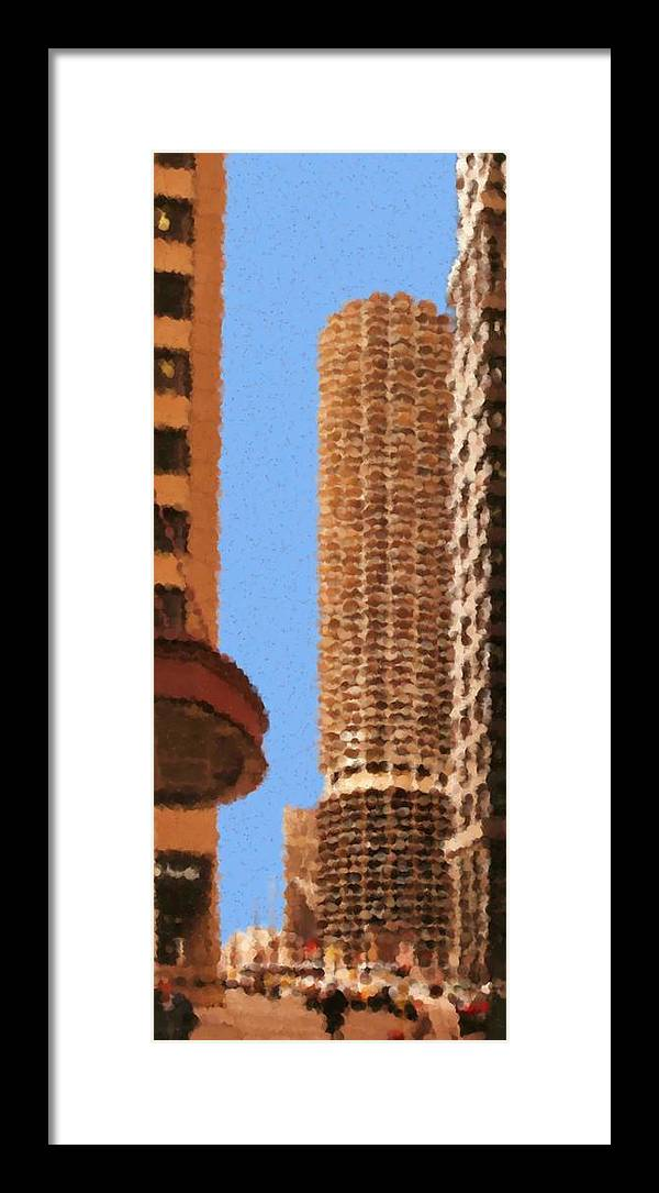 Pancakes Of Chicago Framed Print featuring the mixed media Pancakes of Chicago by Asbjorn Lonvig