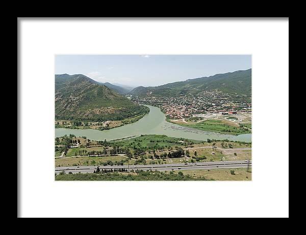 Scenics Framed Print featuring the photograph Panoramic view of Mtskheta, Mtkvari and Aragvi, Georgia by Vyacheslav Argenberg