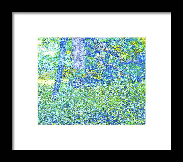 Landscape Framed Print featuring the mixed media Park green landscape by Vitali Komarov