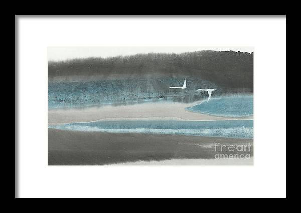 Two Birds Flying Over Forest And River. This Is A Contemporary Chinese Brush Painting On Rice Paper. Framed Print featuring the painting Passage by Mui-Joo Wee