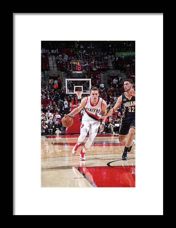 Nba Pro Basketball Framed Print featuring the photograph Pat Connaughton and Georges Niang by Sam Forencich