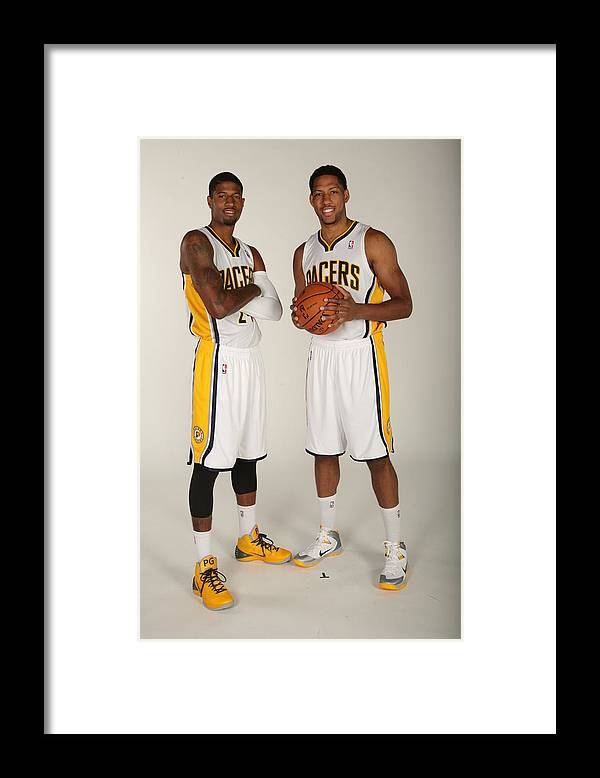 Media Day Framed Print featuring the photograph Paul George and Danny Granger by Ron Hoskins