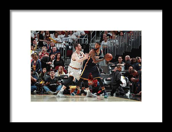 Playoffs Framed Print featuring the photograph Paul George and Kevin Love by Jeff Haynes