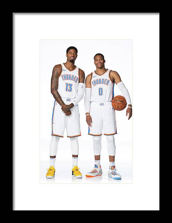 Media Day Framed Print featuring the photograph Paul George and Russell Westbrook by Nba Photos