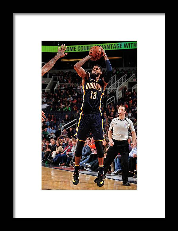 Nba Pro Basketball Framed Print featuring the photograph Paul George by Barry Gossage