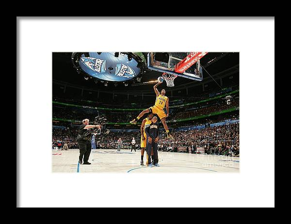 Nba Pro Basketball Framed Print featuring the photograph Paul George, Dahntay Jones, and Roy Hibbert by Nathaniel S. Butler