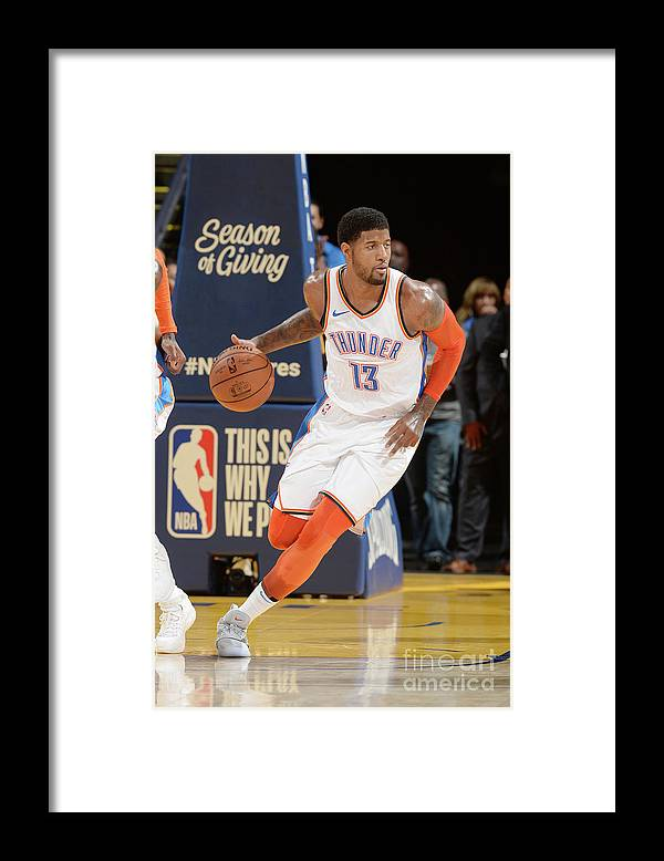 Nba Pro Basketball Framed Print featuring the photograph Paul George by Noah Graham