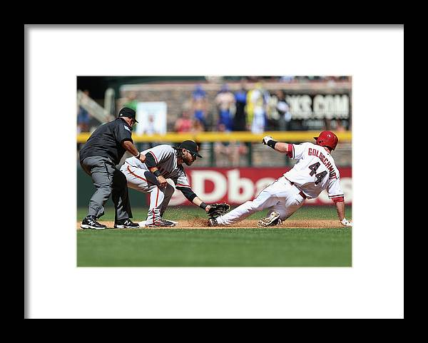 2nd Base Framed Print featuring the photograph Paul Goldschmidt and Brandon Crawford by Christian Petersen