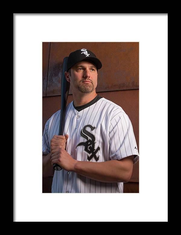 Media Day Framed Print featuring the photograph Paul Konerko by Rob Tringali