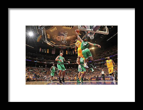 Playoffs Framed Print featuring the photograph Paul Pierce and Kobe Bryant by Jesse D. Garrabrant