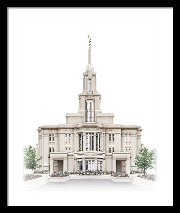 Payson Framed Print featuring the digital art Payson Temple - Celestial Series by Brent Borup