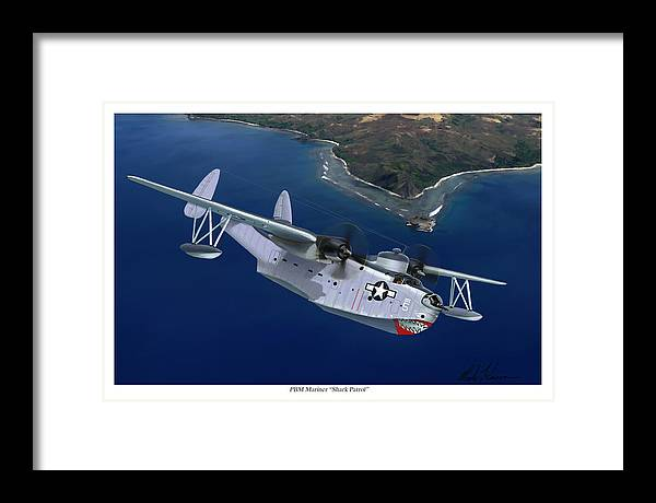 Aviation Art Framed Print featuring the painting PBM Mariner by Mark Karvon