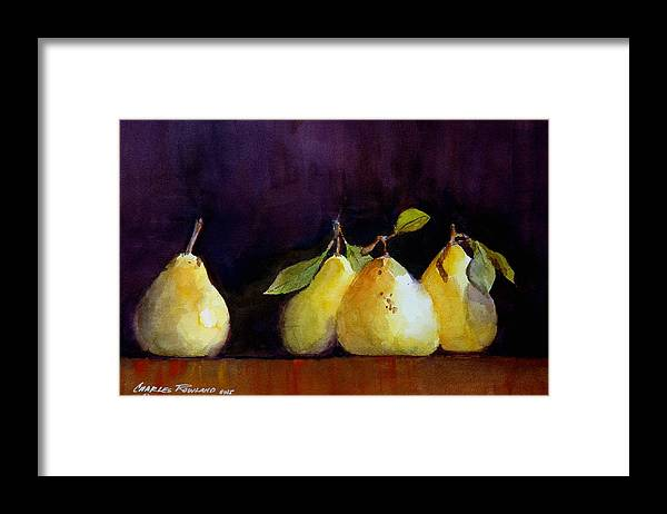 Still Life Framed Print featuring the painting Pears by Charles Rowland