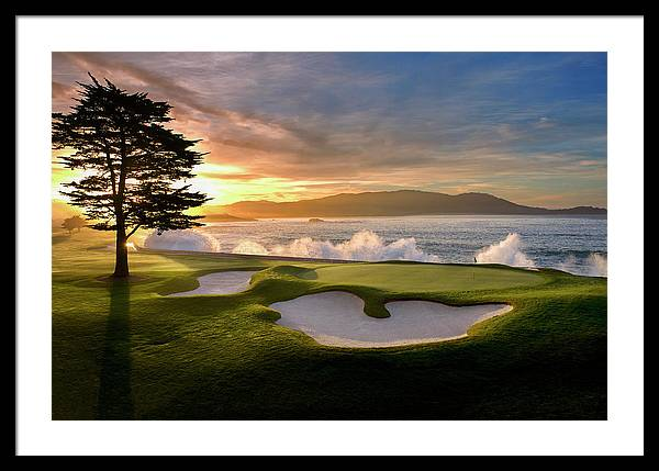 Pebble beach golf course 18th hole sunset by Peter Nowell