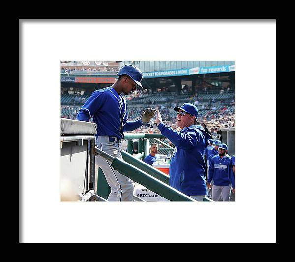 Ninth Inning Framed Print featuring the photograph Pedro Ciriaco and Ned Yost by Gregory Shamus