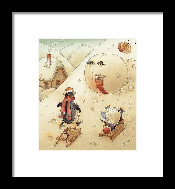Penguins Christmas Winter Snow Sledding White Holiday Framed Print featuring the painting Penguins by Kestutis Kasparavicius
