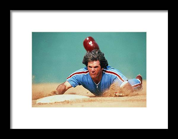 1980-1989 Framed Print featuring the photograph Pete Rose by Ronald C. Modra/sports Imagery