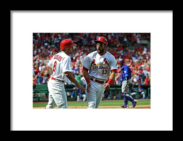 St. Louis Cardinals Framed Print featuring the photograph Peter Bourjos and Matt Carpenter by Jeff Curry