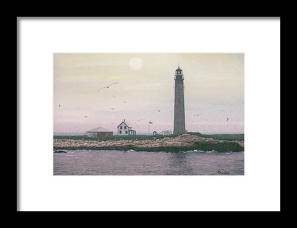 Lighthouse Framed Print featuring the drawing Petit Manan Lighthouse by Brent Ander